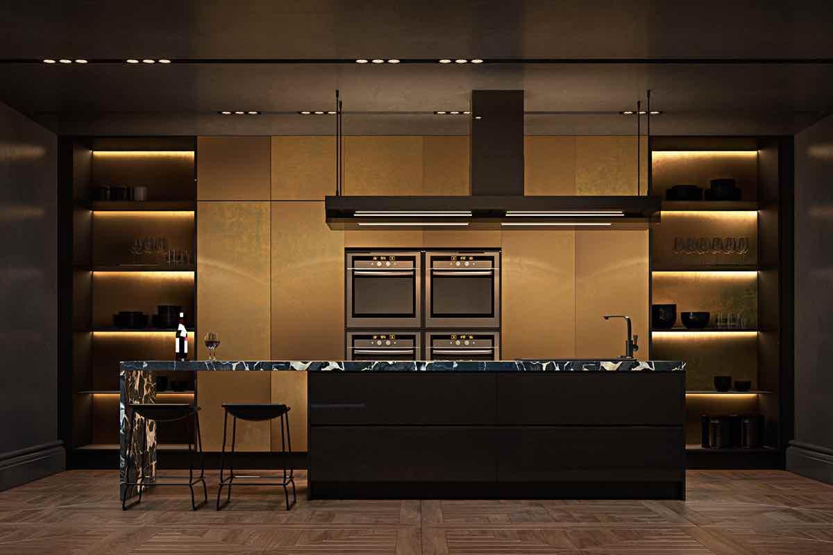 Küche gold modern offene Küche