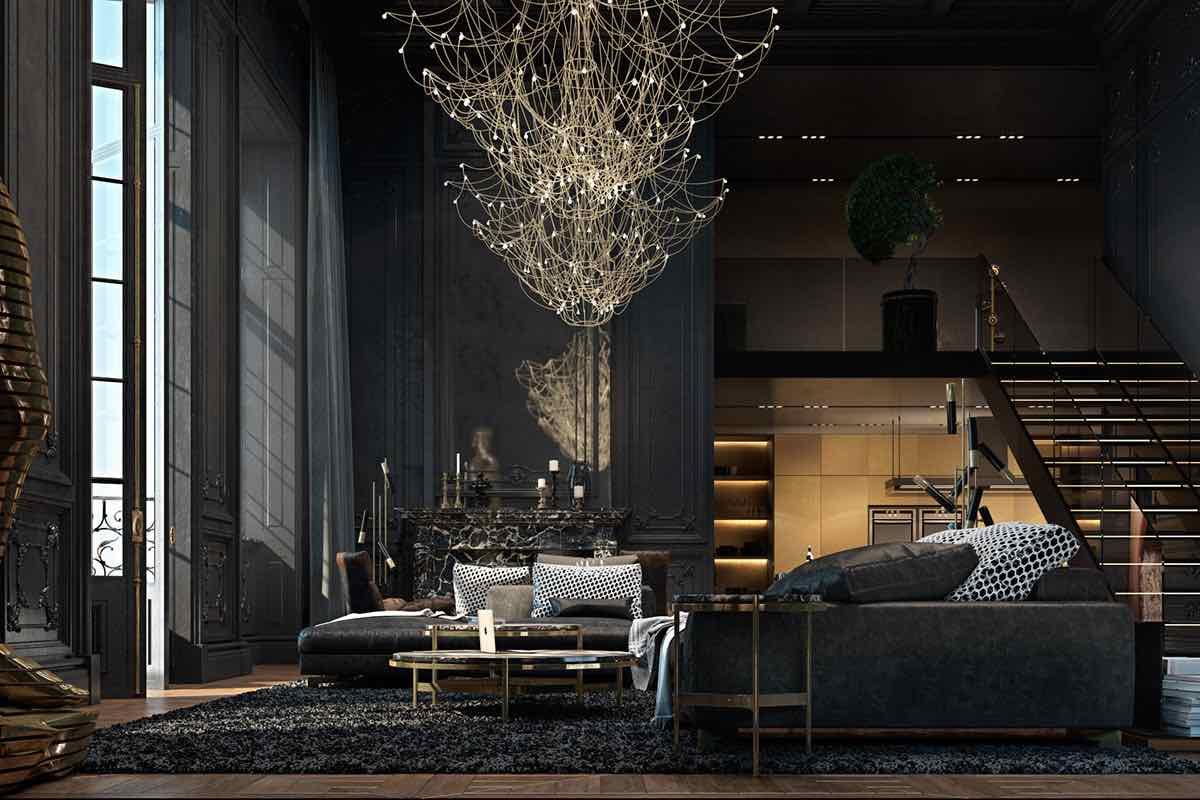 Wohnzimmer goldener Kronleuchter Luxus Einrichtung