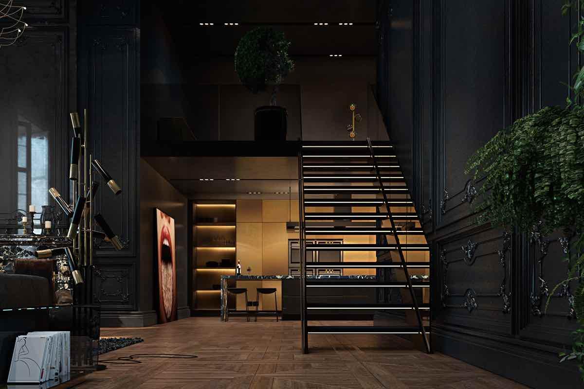 Maisonette Wohnung schwarz gold modern