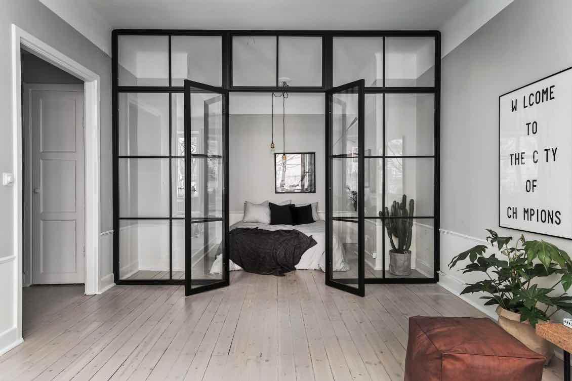 Design-Loft-Schlafzimmer-grau