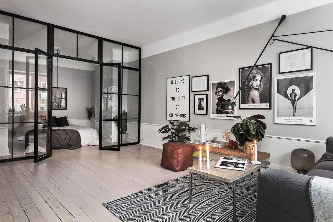Wohnzimmer-Schlafzimmer-Trennwand