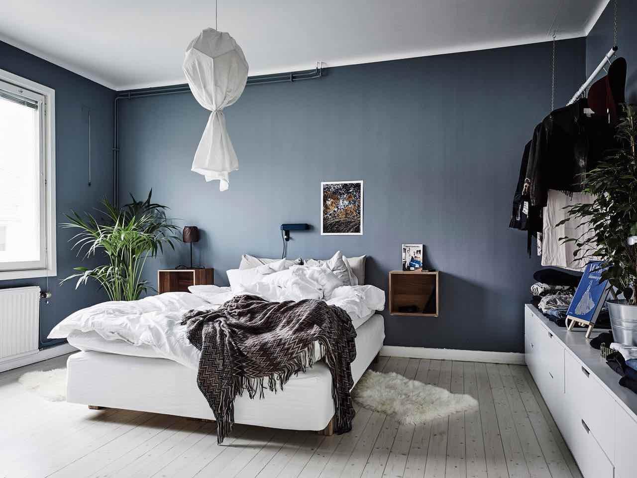 einrichtungsideen schlafzimmer gemuetlich blau grau