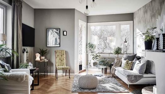 Schwedische Wohnung im interessanten Farbmix