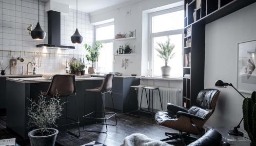 Design-Wohnung mit schwarzen Akzenten