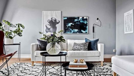 Moderne Wohnung in Blautönen