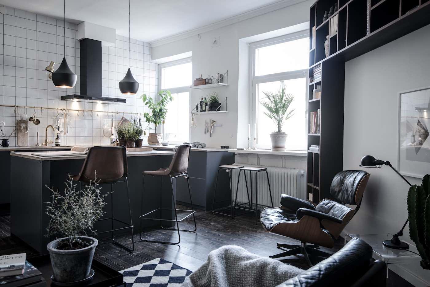 designwohnung mit schwarzen akzenten  designs2love